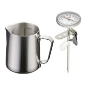 MagiDeal 350ml Stainless Steel Coffee Frothing Milk Tea Latte Jug Scale + Thermometer