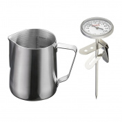 MagiDeal 600ml Stainless Steel Coffee Frothing Milk Tea Latte Jug Scale + Thermometer