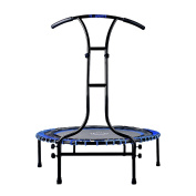 Indoor Outdoor Mini Fitness Trampoline 110 cm Ø with 6 Legs and Grip handle adjustable height sturdy Run up 120 kg load capacity - Blue