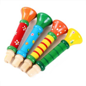 Wooden Hooter,NACOLA Colourful Musical Instrument Trumpet Buglet Educational Suona Toy for Baby Kid Children,3PCS