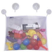 Bath Toy Organiser With 2 Ultra Strong Hooked Suction Cups. High Grade Tube Net Storage for Toys or Soaps & Shampoos. Made from the Top Quality BPA free Mould Resistant Quick Dry Mesh. 100% Polyester