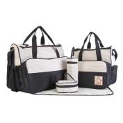 Women Handbag, Hunzed 5Pcs Baby Dot Nappy Changing Bags Set Shoulder Bag Large Tote Ladies Purse Crossbody Bag Handbag Mummy Waterproof Nappy Hospital Bag