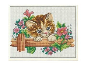Cat and Flower counted cross stitch kits 89x63 stitch 26x22 cm counted cross stitch kits,DIY embroidery kits