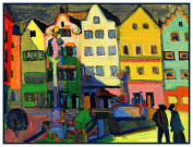 The Bavarian Market Square by Artist Wassily Kandinsky Counted Cross Stitch Pattern