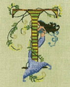 Letters From Mermaids-T Cross Stitch Chart and Free Embellishment