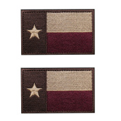 EJG 2 pieces Texas State Flag Tactical Patch( 3 5.1cm ) Lonely Star Military Path With Hook and loop Morale Hook & Loop
