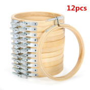 KINGSO 12 pieces 10cm Wooden Embroidery Hoops Adjustable Bamboo Round Circle Cross Stitch Hoop Ring for Art Craft Handy Sewing As show
