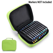 BTSKY Double-Ended Art Marker Carrying Case-40 Slots Canvas Zippered Markers Storage for Copic Prismacolor Touch Spectrum Noir Paint Sharpie Markers, Empty Wallet Organiser Only