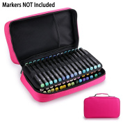 BTSKY Double-Ended Art Marker Carrying Case-60 Slots Canvas Zippered Markers Storage for Copic Prismacolor Touch Spectrum Noir Paint Sharpie Markers, Empty Wallet Organiser Only