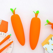 Kawaii Pencil Case Box, Cute Carrot Silicone Pen Pencil Bag Zipper Pouch Creative Cosmetic Makeup Bags, Set of 2