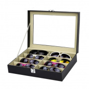 GaoCold 8 Slots Eyeglasses Sunglasses Faux Leather Storage Organiser Display Case Box