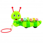 Dragging Caterpillar Xylophone for Kids Multicoloured 6 Keys Percussion Glockenspiel Instrument