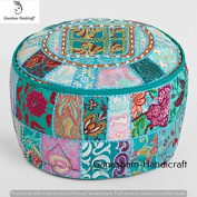 Bohemian Patch Work Floral Ottoman Cover,Traditional Floor/Foot Stool, Christmas Decorative Ethnic Chair Cover,100% Cotton Art Decor Boho Decor Hand Embroidered Floor Cushion Vintage Indian Pouffe Cover