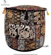 HANDMADE Christmas Decorative Bohemian Ottoman Patchwork Ottoman Indian Embroidered Floor Cushion Indian Vintage Cotton Round Pouffe Foot Stool, Vintage Ottoman Bohemian Decor Seating Pouffe Ottoman