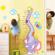 Uniquebella Growth Charts Kids' Room Decor PVC Height Measurement Removable elephant height sticker 60X90cm
