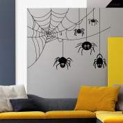 Dnven (60cm x 60cm ) Happy Halloween Five Funny Spiders Spinning Webs Children Stylish Wall Decals Window Mirror Stickers Halloween Wall Art Decorations for Kids Rooms Nursery Halloween Party