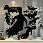 Dnven (43cm W x 43cm H) Happy Halloween Spooky Ghost Monster Casper Children Stylish Wall Decals Window Mirror Stickers Halloween Wall Art Decorations for Kids Rooms Nursery Halloween Party
