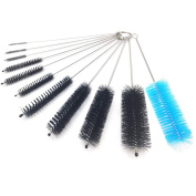 JTENG Nylon Bottle Tube Brush Cleaning Brush (Set in 11), Pipe Cleaner , Glasses Straw Cleaning Brush Set with Protective Cap for Drinking Straws, Glasses, Keyboards, Jewellery Cleaning, Stainless-Steel