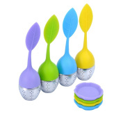 Food Grade Silicone with Stainless Steel Leaves Handle Tea Ball with Bottom Bracket 4 Pcs