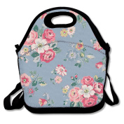 Floral Vintage Flower Travel Picnic Lunch Bag Lunchboxes Outdoor Lunch Box Bag Lunch Tote Handbag Convenience For Out