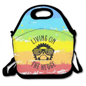 Black Living On The Hedge Hedgehog With Glasses Lunch Bags For Man And Woman