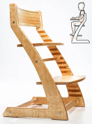 HeartWood Adjustable Natural Wooden High Chair for Babies and Toddlers Easy to Clean Dining Chair from 24 Months up to 110kg