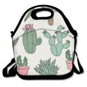 QIFAN Custom Cactus Doodles Pattern Reusable Ziplock Crossbody Picnic Bag Design For Office Portable Lunch Box Cooler Back To School Lunch Bag Lunch Tote Bag Box For Boys Girls