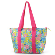 Zodaca Large Insulated Lunch Tote Bag, Green/Pink Paisley
