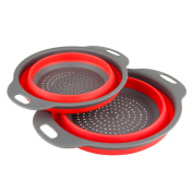DIYANG 2 Collapsible Colanders Set(Strainers) , Food-Grade Silicone kitchen Strainer Space-Saver Folding Strainer, 24cm and 20cm Size