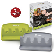Orblue Giant Spoon Rest w/ 2 Colour Coded Ladle & Spoon Holder - Lime Green & Slate Grey