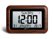 VISO 10 – EXTRA LARGE, EASY READ CLOCK. HELPFUL FOR DEMENTIA AND ALZHEIMER SUFFERERS – WOOD BROWN- UK VERSION