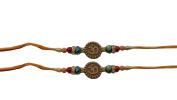 PMK Set of Two Rakhi, Om Design Rakhi thread, Raksha bandhan Gift for your Brother, Orange Yellow Colour Thread.