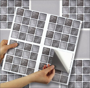 """GRAPHITE MOSAIC sheet of 4 Transfer Tile Stickers for 6"""" x 6"""" (15cm x 15cm) tiles 3M Self Adhesive sheet of four tile sticker transfers for Kitchens & Bathrooms Fully wipeable, steam and heat resistant, non see through material. 35 NEW STYLES available .."""