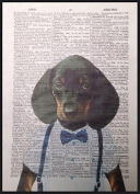 Dachshund Print Vintage Dictionary Page Wall Art Picture Sausage Dog Hipster Animal Quirky Dog Funky Humanised Quirky