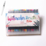 WOWENWO Watercolour Brush Pen 20 Colours Soft Flexible Real Brush Tip Water Colouring Brush Marker Pens Set for Watercolour Painting, Calligraphy, Adult Colouring Books, Manga, Comic