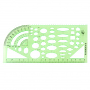 Home Mart Measuring Templates Geometric Rulers for Office and School,Clear Green Colour Plastic