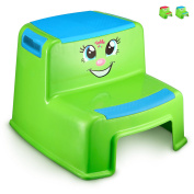 Smiley Face Toddler Step Stool - Bright Blue Boys' Dual Height Toilet Potty Training Tool with Cute Design for Use in Bathroom and Kitchen - Lightweight, 100kg Capacity - By Toddle doo