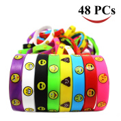Joyin Toy 48 Pieces Emoji Emotion Silicone Wristband Bracelets Kids Party Favour