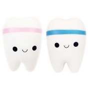 POWEE 2 Pcs 10cm Squishies Jumbo Slow Rising Kawaii Teeth Scented Tooth Toy for Play