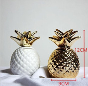 URToys 2Pcs 12x9x9CM Golden And White Mini Pineapple Ceramic Coin Piggy Bank Save Money Cans Money Boxes Creative Ornaments Home Furnishings Decorations For Children Christmas Birthday Gift