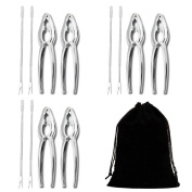 Seafood Tools Set Nut Cracker of 12 Pieces with with 6 Lobster Crab Crackers and 6 Seafood Forks /Picks with Storage Bag