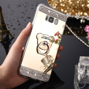 Galaxy S8 Plus Case,IKASEFU Luxury Crystal Rhinestone Soft Silicone Rubber Bumper Bling Diamond Glitter Mirror Makeup Case Cover with Bear Ring Stand Holder for Samsung Galaxy S8 Plus