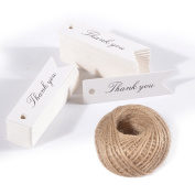 Thank You Tags,Gift Wrap Tags with String,KINGLAKE 100 Pcs Paper Hang Tags with 30m Jute Twine for Wedding Party,Christmas,Thanksgiving