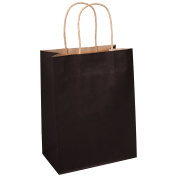 Kraft Paper Bags 8x 4.190cm x 27cm 100Pcs BagDream Gift Bags,Party Bags,Cub, Shopping Bgs, Kraft Bags, Retail Bags, Black Paper Bags with Handles