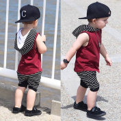 DXINXIN Toddler Kids Baby Boy Hooded Vest Tops+Shorts Pants 2pcs Outfits Clothes Set
