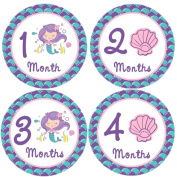 Mermaid Monthly Baby Stickers, Girls Bodysuit Stickers Infant Month Stickers, Great Shower Gift Excellent Baby Photo Props, 12 Pieces