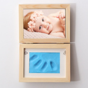 Baby Keepsake Frames, Essort Baby Hand Print and Footprint Photo Frame Kit and Soft Clay Photo Frame Casting Kit, Cool & Unique Baby Shower Gifts for Registry, Memorable Keepsakes Decorations blue