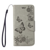 iPhone 8 Wallet Case, ARSUE Shock Absorbing 3D Handmade Premium Soft Flip Folio [Kickstand Feature] PU leather wallet Butterfly Flower case with ID & Credit Card Pockets for iPhone 8,Grey