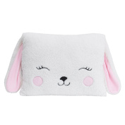 Little Love by NoJo Bunny Shaped Pillow, White, Pink