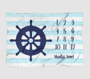 Nautical Monthly Milestone Photography Baby Blanket - Navy Ships Wheel Aqua Stripes - 50 X 60 - Plush Fleece Photo Blanket/ Photo Prop